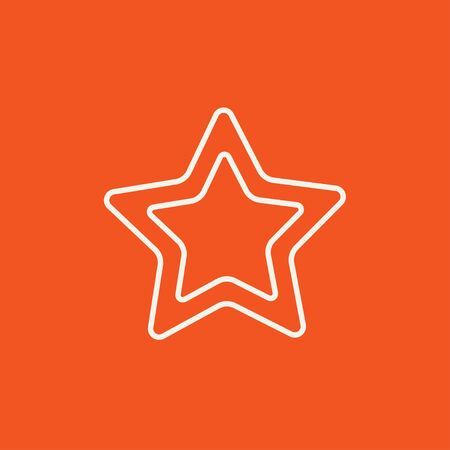 good judgment: Rating star line icon for web, mobile and infographics. Vector white icon isolated on red background.