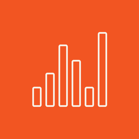 analyzer: Equalizer line icon for web, mobile and infographics. Vector white icon isolated on red background.