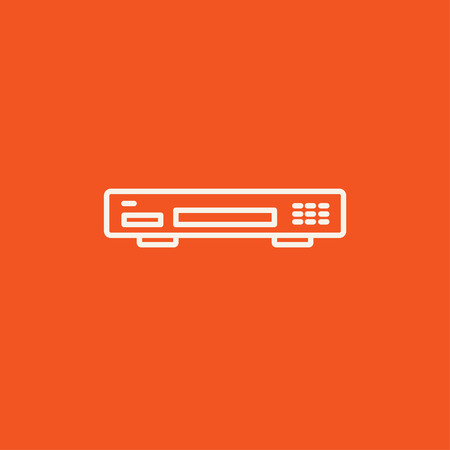 videocassette: Video recorder line icon for web, mobile and infographics. Vector white icon isolated on red background. Vectores