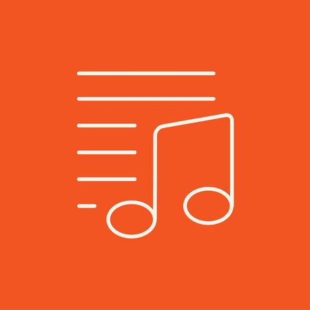 melodies: Musical note line icon for web, mobile and infographics. Vector white icon isolated on red background.