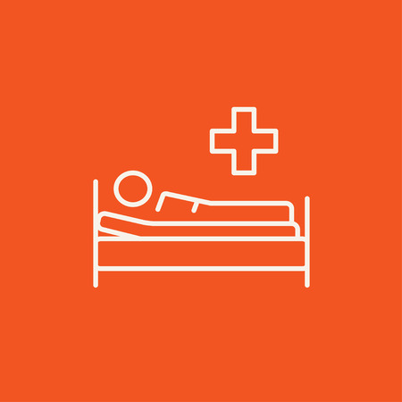 bedridden: Patient lying on the bed line icon for web, mobile and infographics. Vector white icon isolated on red background.
