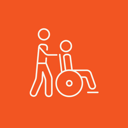 A man pushing a wheelchair with a patient line icon for web, mobile and infographics. Vector white icon isolated on red background.