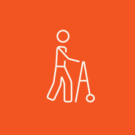 Man with walker line icon for web, mobile and infographics. Vector white icon isolated on red background.