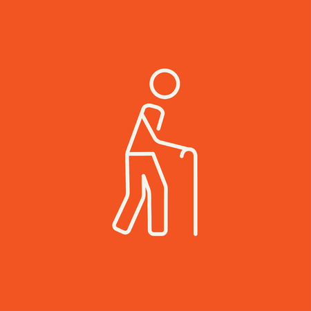 gerontology: Man walking with cane line icon for web, mobile and infographics. Vector white icon isolated on red background. Illustration