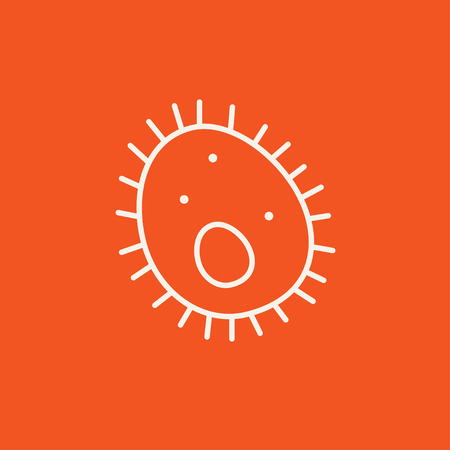 epidemiology: Bacteria line icon for web, mobile and infographics. Vector white icon isolated on red background.