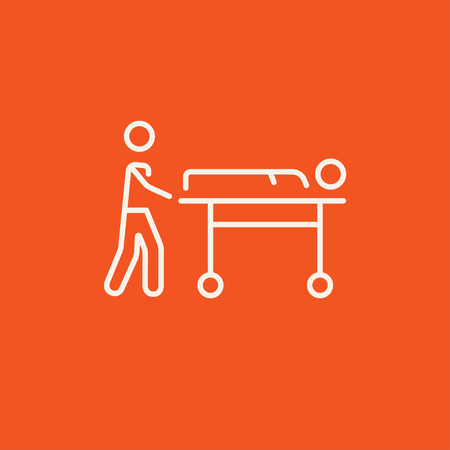 Man pushing stretchers with patient line icon for web, mobile and infographics. Vector white icon isolated on red background. Vectores