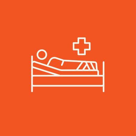 cruz roja: Paciente mentir en el icono de l�nea de la cama para web, m�vil y la infograf�a. Vector icono blanco aislado en fondo rojo.