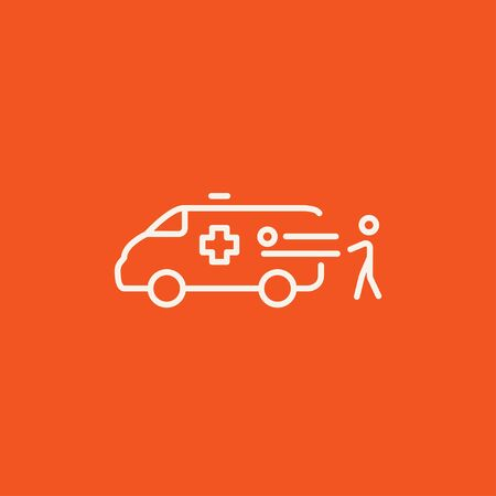 Man pushing stretchers with patient in ambulance car line icon for web, mobile and infographics. Vector white icon isolated on red background. Vectores