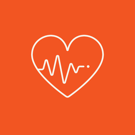 Heart symbol with cardiogram line icon for web, mobile and infographics. Vector white icon isolated on red background.