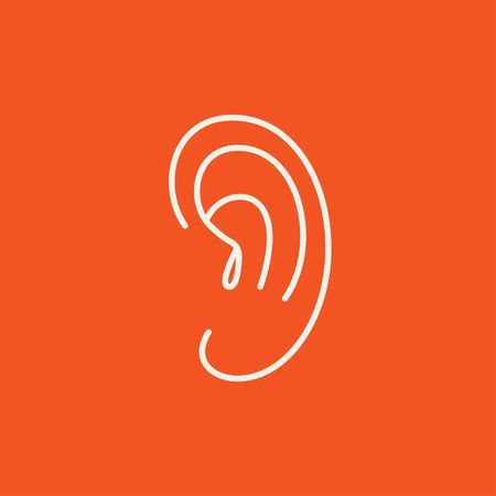 audible: Human ear line icon for web, mobile and infographics. Vector white icon isolated on red background.