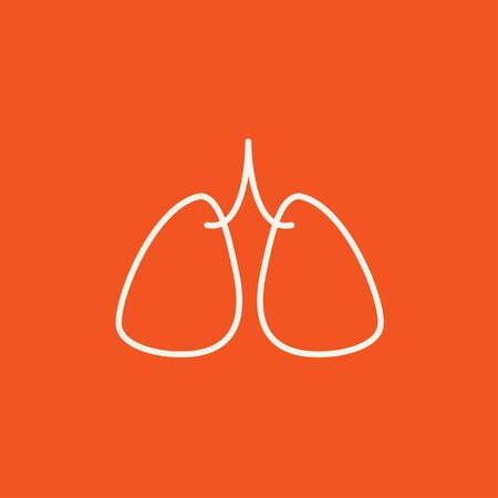 Lungs line icon for web, mobile and infographics. Vector white icon isolated on red background. Illustration