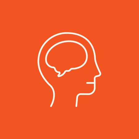 Human head with brain line icon for web, mobile and infographics. Vector white icon isolated on red background.