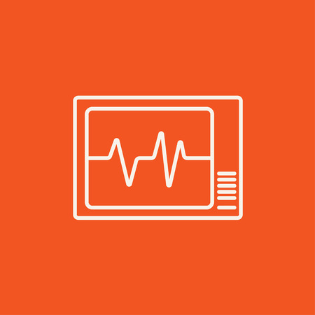 heart monitor: Heart monitor line icon for web, mobile and infographics. Vector white icon isolated on red background. Illustration