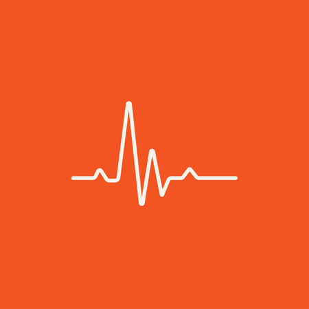 Hheart beat cardiogram line icon for web, mobile and infographics. Vector white icon isolated on red background. Çizim