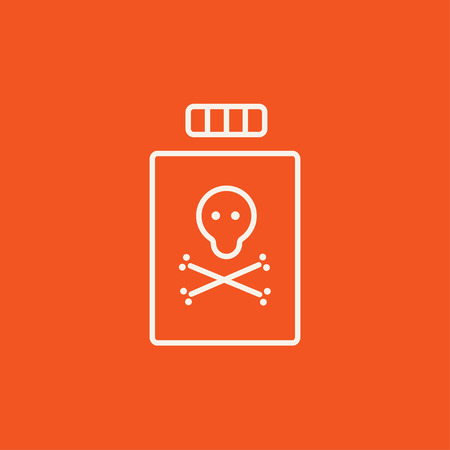 reagent: Bottle of poison line icon for web, mobile and infographics. Vector white icon isolated on red background.