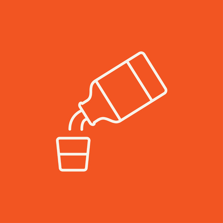 cough syrup: Medicine and measuring cup line icon for web, mobile and infographics. Vector white icon isolated on red background.