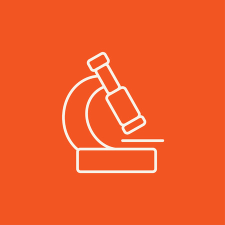 Microscope line icon for web, mobile and infographics. Vector white icon isolated on red background. Illusztráció