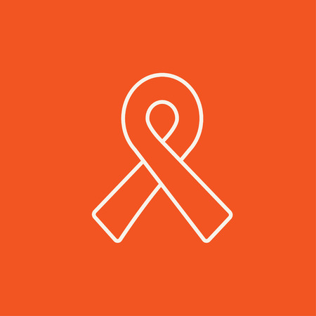 hiv awareness: Ribbon line icon for web, mobile and infographics. Vector white icon isolated on red background.