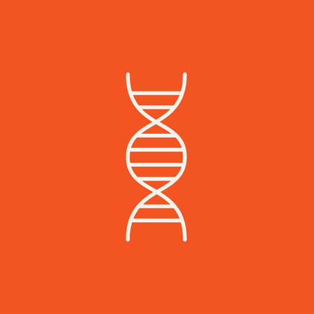 DNA line icon for web, mobile and infographics. Vector white icon isolated on red background.