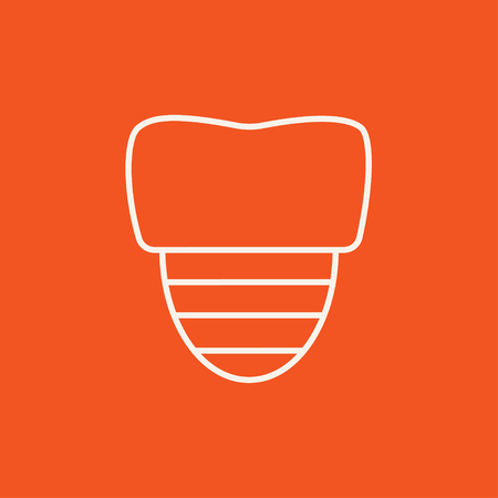 orthodontist: Tooth implant line icon for web, mobile and infographics. Vector white icon isolated on red background. Illustration