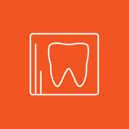 hygienist: X-ray of the tooth line icon for web, mobile and infographics. Vector white icon isolated on red background.