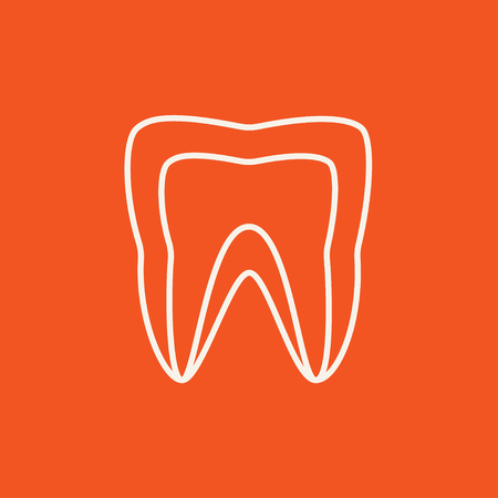 molar: Molar tooth line icon for web, mobile and infographics. Vector dark grey icon isolated on light grey background.