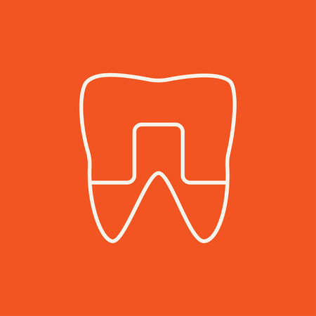 crowned: Crowned tooth line icon for web, mobile and infographics. Vector dark grey icon isolated on light grey background.