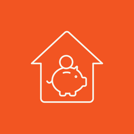 House savings line icon for web, mobile and infographics. Vector white icon isolated on red background.