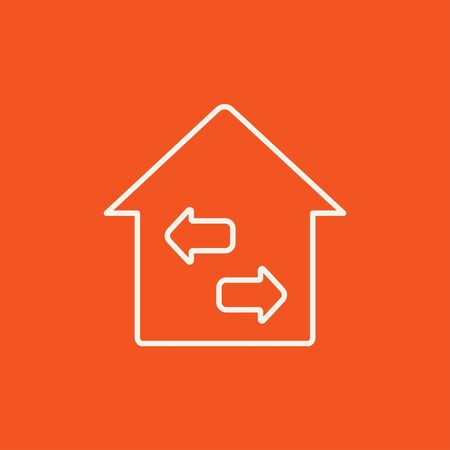 resale: Property resale line icon for web, mobile and infographics. Vector white icon isolated on red background.