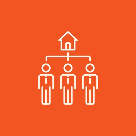 possession: Three real estate agents line icon for web, mobile and infographics. Vector white icon isolated on red background. Illustration