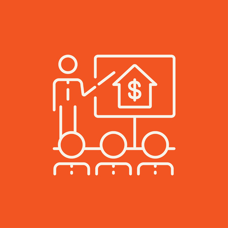 valuation: Real estate training line icon for web, mobile and infographics. Vector white icon isolated on red background.
