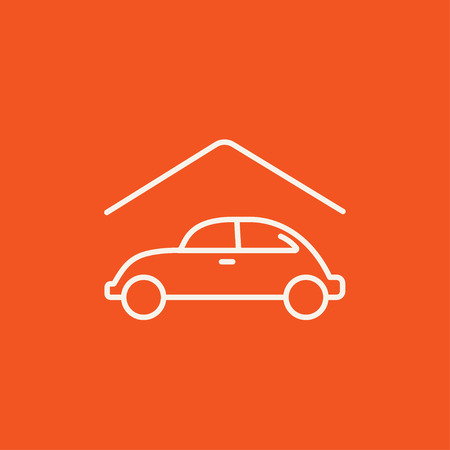 parked: Car garage line icon for web, mobile and infographics. Vector white icon isolated on red background.
