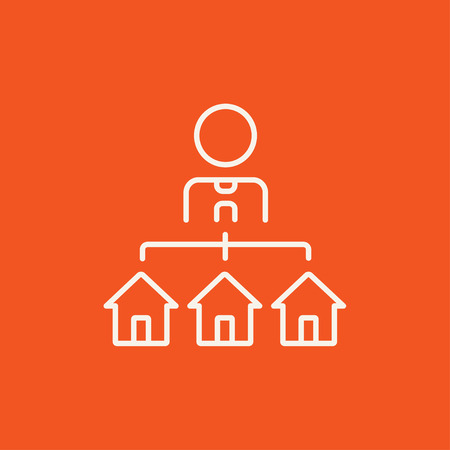 renter: Real estate agent with three houses line icon for web, mobile and infographics. Vector white icon isolated on red background.