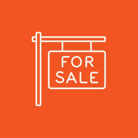 Te koop plakkaat lijn pictogram voor web, mobiel en infographics. Vector wit pictogram geïsoleerd op rode achtergrond. Stock Illustratie