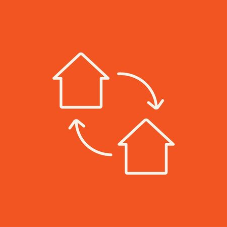house exchange: House exchange line icon for web, mobile and infographics. Vector white icon isolated on red background.