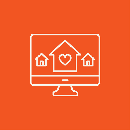 Smart house technology line icon for web, mobile and infographics. Vector white icon isolated on red background. Illustration
