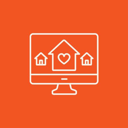 Slimme huistechnologie lijn pictogram voor web, mobiel en infographics. Vector wit pictogram geïsoleerd op rode achtergrond. Stockfoto - 49280773