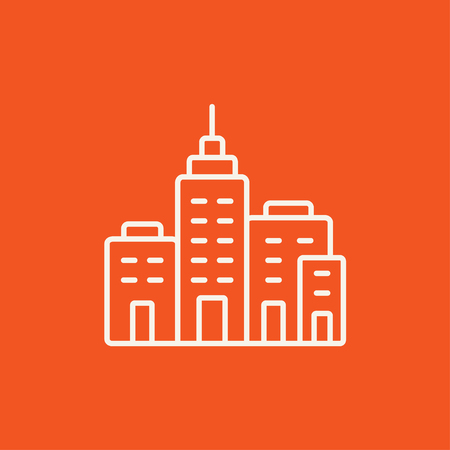 multi storey: Residential buildings line icon for web, mobile and infographics. Vector white icon isolated on red background. Illustration