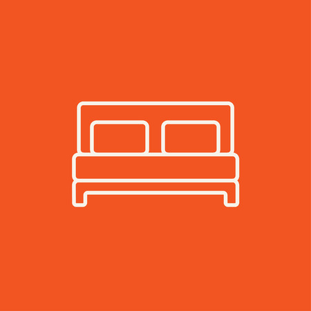 one bedroom: Double bed line icon for web, mobile and infographics. Vector white icon isolated on red background. Illustration