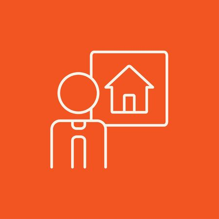 renter: Real estate agent line icon for web, mobile and infographics. Vector white icon isolated on red background.