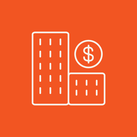 Condominium with dollar symbol line icon for web, mobile and infographics. Vector white icon isolated on red background.
