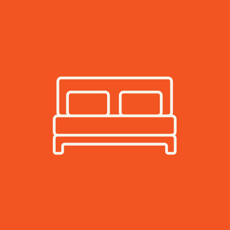 twin bed: Double bed line icon for web, mobile and infographics. Vector white icon isolated on red background. Illustration