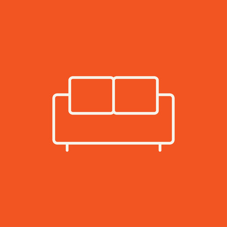 red sofa: Sofa line icon for web, mobile and infographics. Vector white icon isolated on red background.