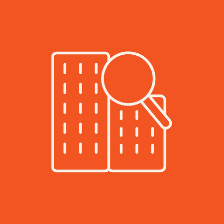 condominium: Condominium and magnifying glass line icon for web, mobile and infographics. Vector white icon isolated on red background.
