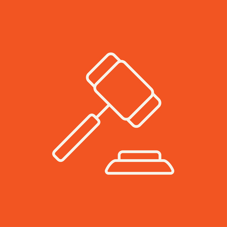auction gavel: Auction gavel line icon for web, mobile and infographics. Vector white icon isolated on red background. Illustration