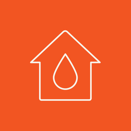 constraction: House with water drop line icon for web, mobile and infographics. Vector white icon isolated on red background.