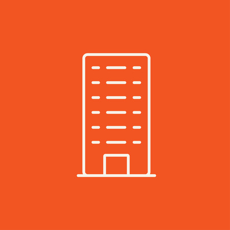 multi storey: Residential building line icon for web, mobile and infographics. Vector white icon isolated on red background.