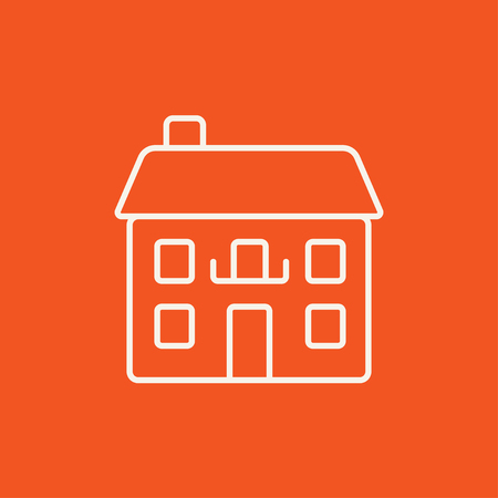 two storey: Two storey detached house line icon for web, mobile and infographics. Vector white icon isolated on red background.