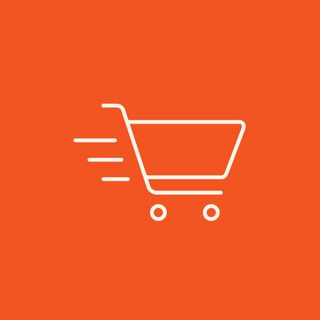 Shopping cart line icon for web, mobile and infographics. Vector white icon isolated on red background. Illustration