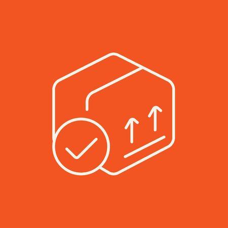 Cuadro de paquete de cartón con dos flechas hacia arriba icono de línea para web, móvil y la infografía. Vector icono blanco aislado en fondo rojo. Foto de archivo - 49281141